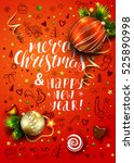 christmas vector red card with... | Shutterstock .eps vector #525890998