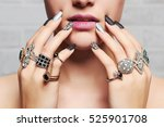 woman's hands with jewelry... | Shutterstock . vector #525901708