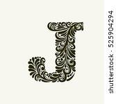 elegant capital letter j in the ... | Shutterstock . vector #525904294