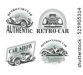 set of retro car emblems  icons ... | Shutterstock .eps vector #525905314