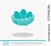 nest with three eggs vector... | Shutterstock .eps vector #525906286