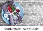 christmas dinner plate... | Shutterstock . vector #525910009