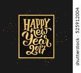happy new year 2017 golden... | Shutterstock . vector #525912004