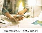 double exposure of businessman... | Shutterstock . vector #525913654