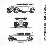 Set Of Retro Car Silhouettes....