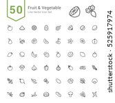 fruit and vegetable icon set.... | Shutterstock .eps vector #525917974