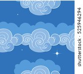 seamless pattern with clouds.... | Shutterstock .eps vector #525946294