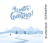 vector illustration  snowy... | Shutterstock .eps vector #525946954