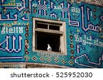 tilework and dove on the green... | Shutterstock . vector #525952030