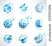 abstract globe and puzzle... | Shutterstock .eps vector #525952306