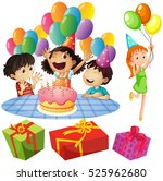 kids at birthday party with... | Shutterstock .eps vector #525962680