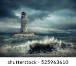 lighthouse on the sea under sky. | Shutterstock . vector #525963610