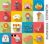 circus and amusement park flat... | Shutterstock . vector #525968734