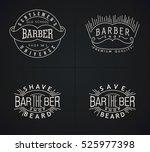 set of emblems barber shop in... | Shutterstock . vector #525977398