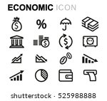 vector line economic icons set...