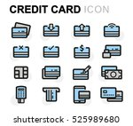 vector flat credit card icons... | Shutterstock .eps vector #525989680