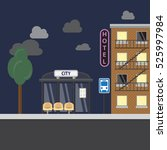 bus stop with city background....   Shutterstock .eps vector #525997984