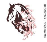 horse among flowers   animal... | Shutterstock . vector #526002058