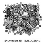 cartoon cute doodles hand drawn ... | Shutterstock . vector #526003543