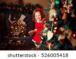 smiling little girl peeping...   Shutterstock . vector #526005418