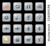 set of cartoon buttons or icons ...
