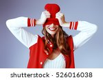 cool cheerful girl with bright... | Shutterstock . vector #526016038