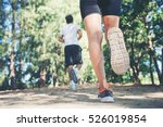 young couple running in the... | Shutterstock . vector #526019854