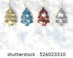 christmas ornaments on snow... | Shutterstock . vector #526023310