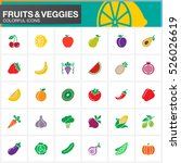 fruits and vegetables vector... | Shutterstock .eps vector #526026619