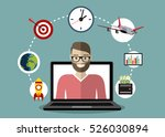 man out of screen monitor.... | Shutterstock .eps vector #526030894