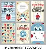 set of 6 cute creative cards... | Shutterstock .eps vector #526032490
