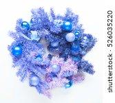Blue Christmas Wreath On White...