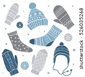 winter vector set of cute socks ... | Shutterstock .eps vector #526035268