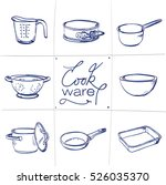 doodle set of kitchen cook ware ... | Shutterstock .eps vector #526035370
