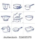 doodle set of kitchen cook ware ... | Shutterstock .eps vector #526035370