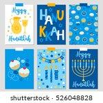 set of six hanukkah greeting...   Shutterstock .eps vector #526048828
