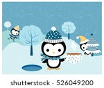 Stock vector cute penguin characters with hats scarves skates in winter landscape scene with trees and snow 526049200