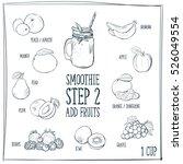 Doodle Set Of Smoothie  Fruits...