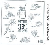doodle set of smoothie  greens  ... | Shutterstock .eps vector #526049770