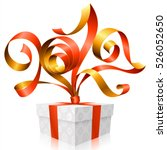 vector red ribbon and gift box... | Shutterstock .eps vector #526052650