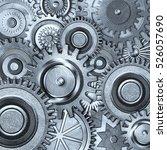 3d metallic gears background | Shutterstock . vector #526057690