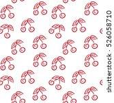 vector simple red cherries... | Shutterstock .eps vector #526058710