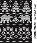knitted christmas and new year... | Shutterstock .eps vector #526065460