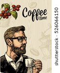 poster with hipster barista... | Shutterstock .eps vector #526066150