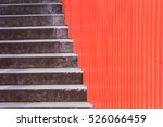 concrete stair half with red... | Shutterstock . vector #526066459