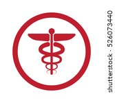 flat red medical symbol icon in ... | Shutterstock . vector #526073440