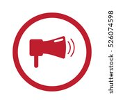 flat red megaphone icon in... | Shutterstock . vector #526074598