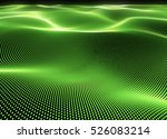 abstract 3d green dot particles ... | Shutterstock . vector #526083214