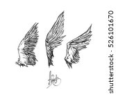 set of three different wings  ... | Shutterstock .eps vector #526101670