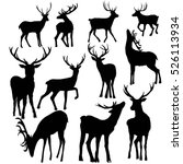 deer silhouette set   vector...